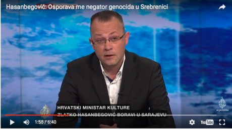 Croatia's Culture Minister Zlatko Hasanbegovic On Al Jazeera TV Photo: Screenshot: balka.aljazeera.net 8 May 2016