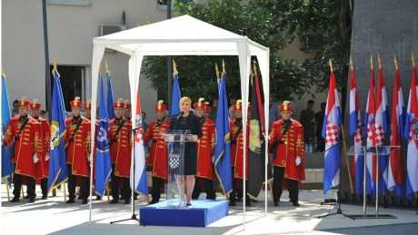 Croatia's president Kolinda Grabar-KItarovic delivering speech at Knin for 21st anniversary of liberation from Serb occupation Photo: Screenshot