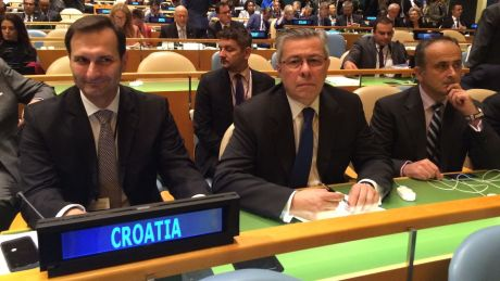 """UN September 2016 From Left: Miro Kovac (former foreign minister, Croatia), Vladmir Drobnjak - Croatian permanent representative at UN, Gordan Bakota, assistant to former foreign minister Photo: hrt.hr In preparing the document for Croatia's candidacy as member of UNHRC Croatia's former foreign minister Miro Kovac noted: """"One of the greatest achievements of the development of human rights is the idea that human rights belong to everyone simply by virtue of being a member of the human family. Therefore, we all share great responsibility to protect, promote and advance human rights of all human beings, without any discrimination."""""""