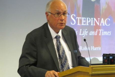 "Dr Robin Harris presenting his new book ""Stepinac - His Life and Times"" In Zagreb, Croatia 21 October 2016 Photo: HKS (Croatian Catholic University)"