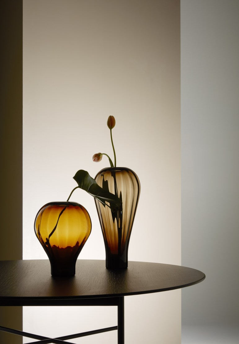 Luca Nichetto vackra vaser i muranoglas för Fogia, Luft, i liten upplaga.