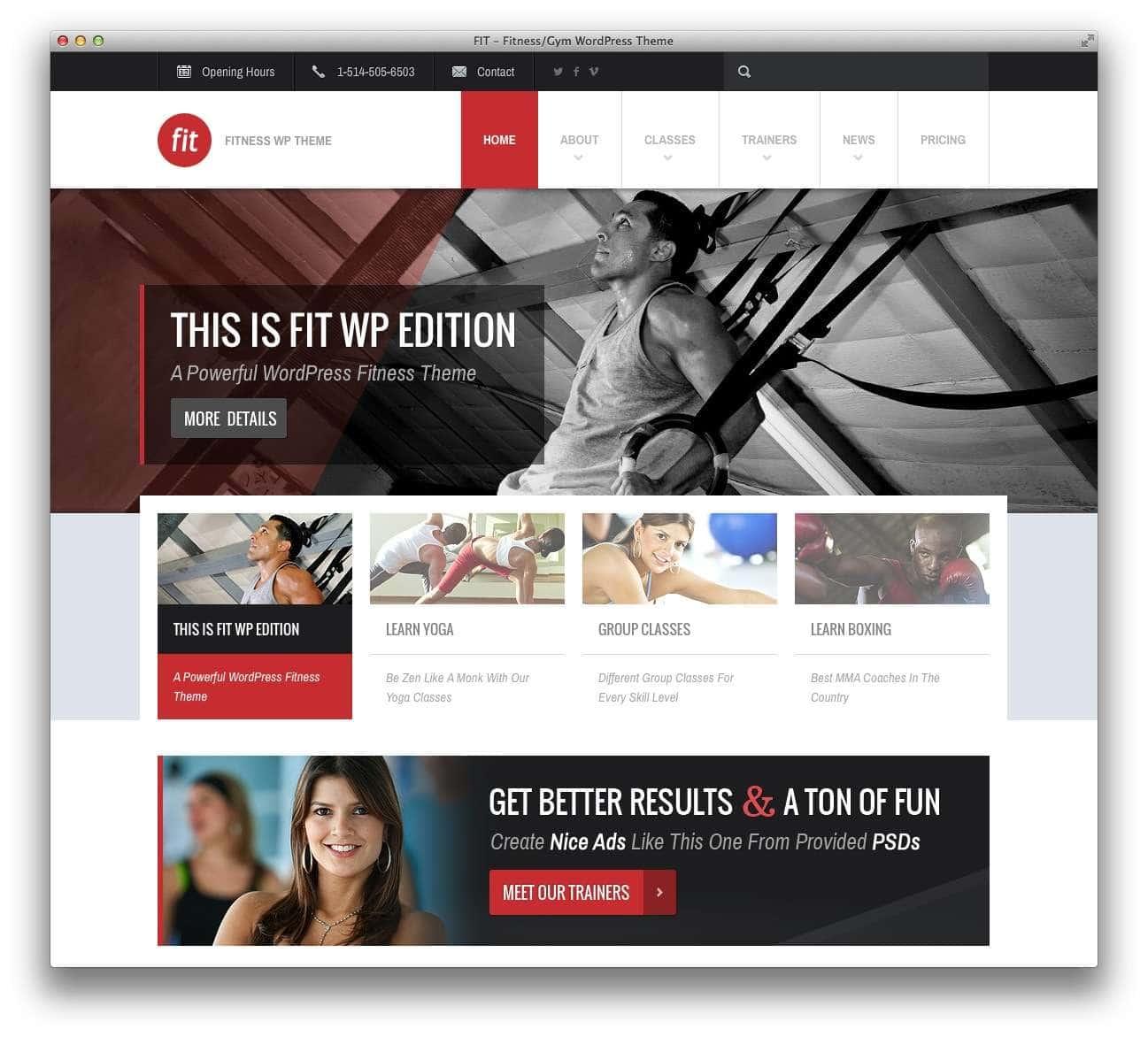 WordPress шаблоны – Фитнес и спорт 9