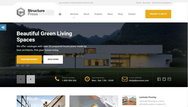 Шаблон сайта строительной компании на Вордпресс