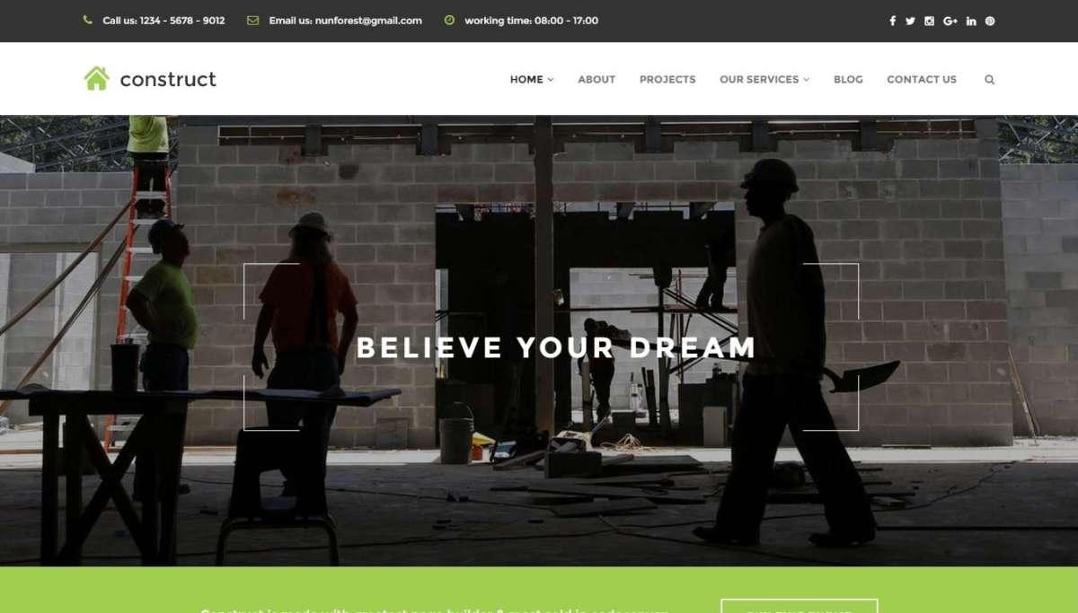 Профессиональные шаблоны сайта строительной компании на Вордпресс