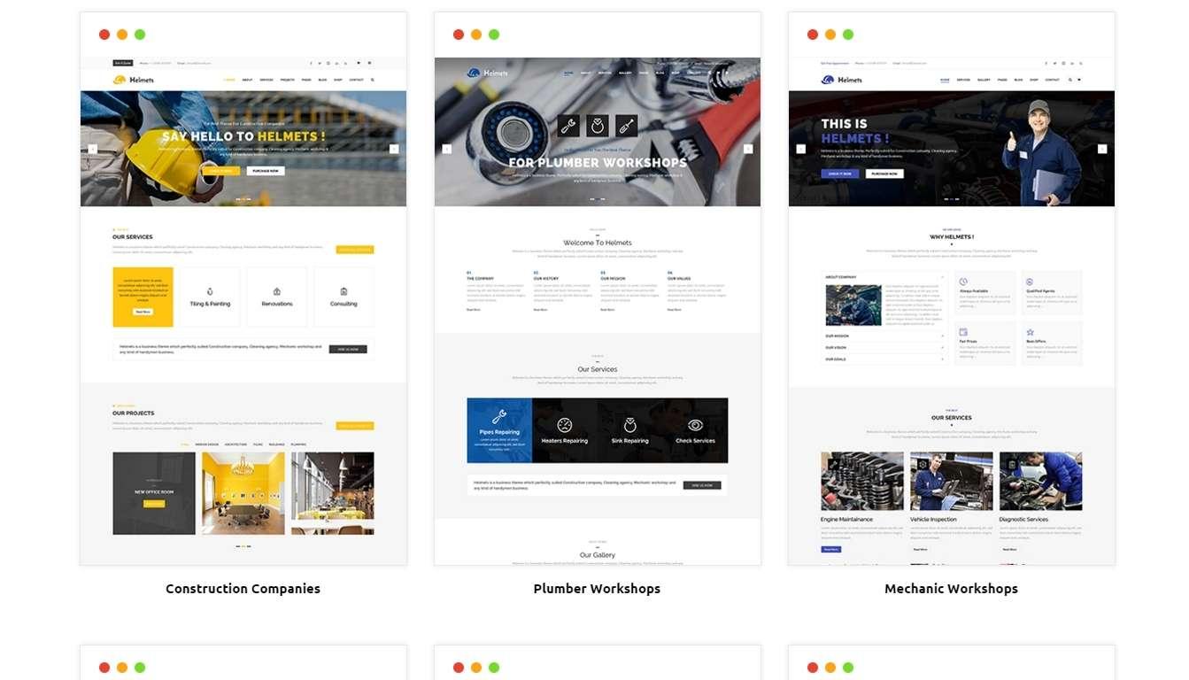 Бизнес WordPress шаблоны для разных видов работ