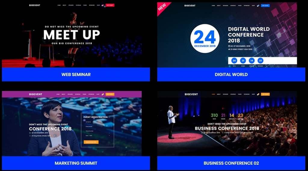 красивые шаблоны WordPress конференции и событий с онлайн-календарем 07