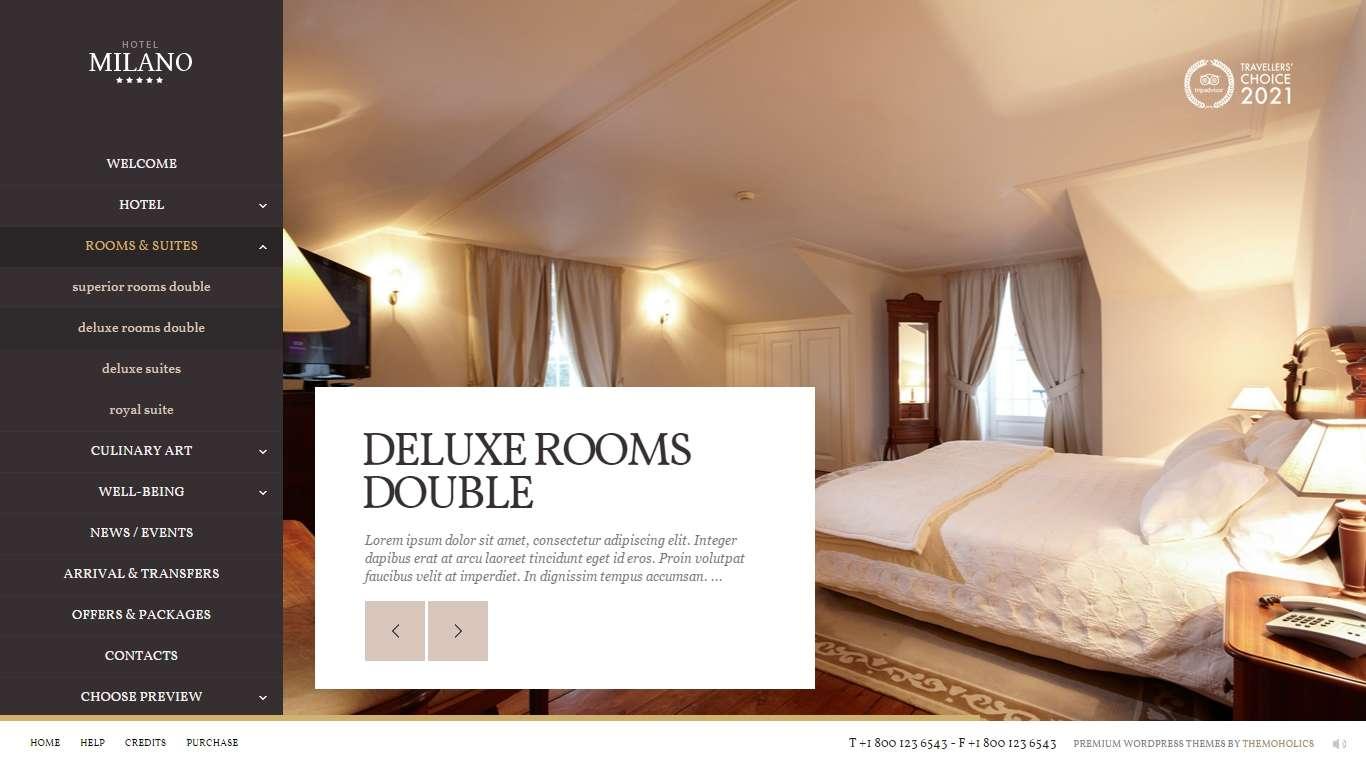 Milano многоцелевая WordPress тема для гостиницы и ресторана