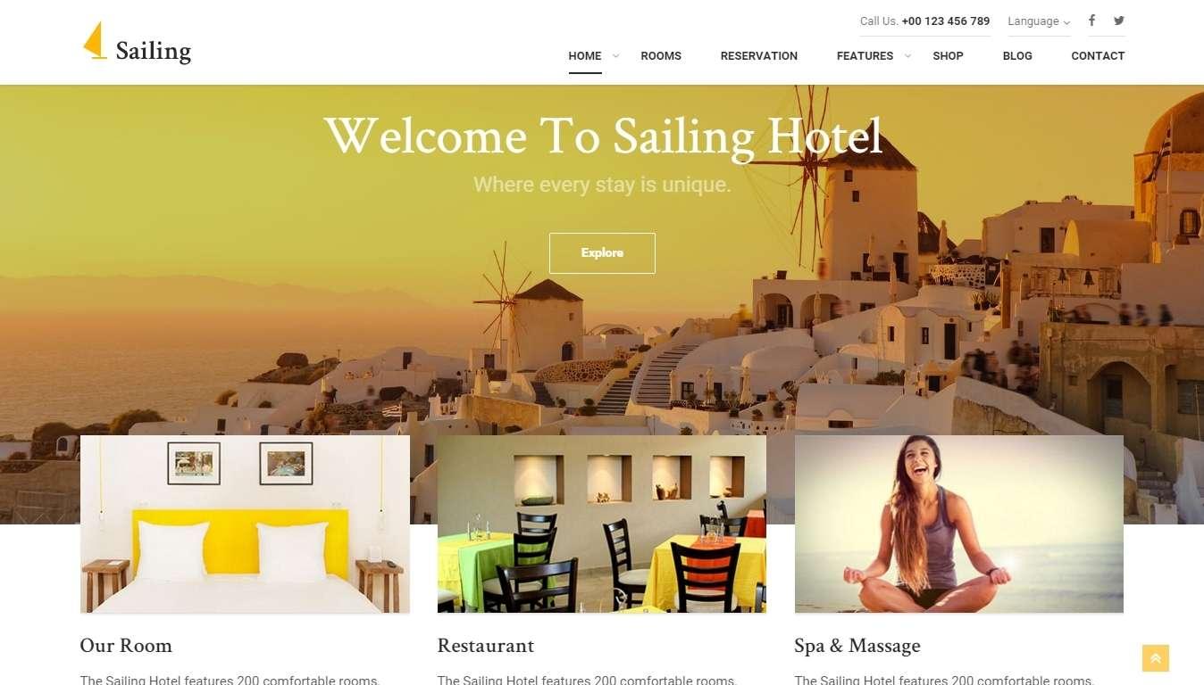 Sailing - WordPress шаблоны для гостиницы и отеля