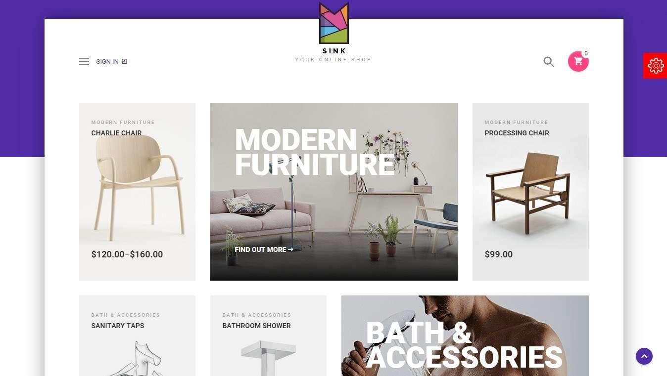 WooCommerce шаблон для продажи мебели и сантехники