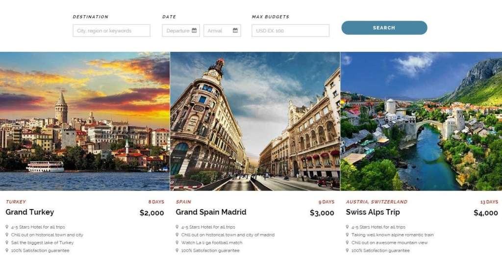 Роскошный туристический шаблон сайта wordpress 2016
