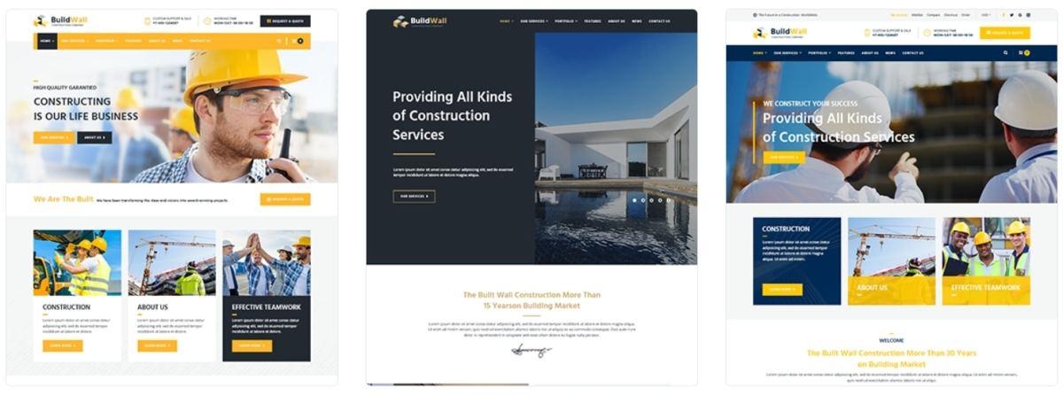 Профессиональные шаблоны сайта строительной компании на Вордпресс с красивым дизайном