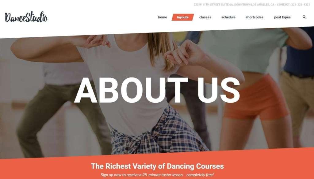 великолепные шаблоны WordPress для школы танцев, танцевальной студии и клуба