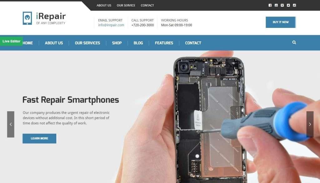 красивый WordPress шаблон ремонт компьютеров и телефонов 2017