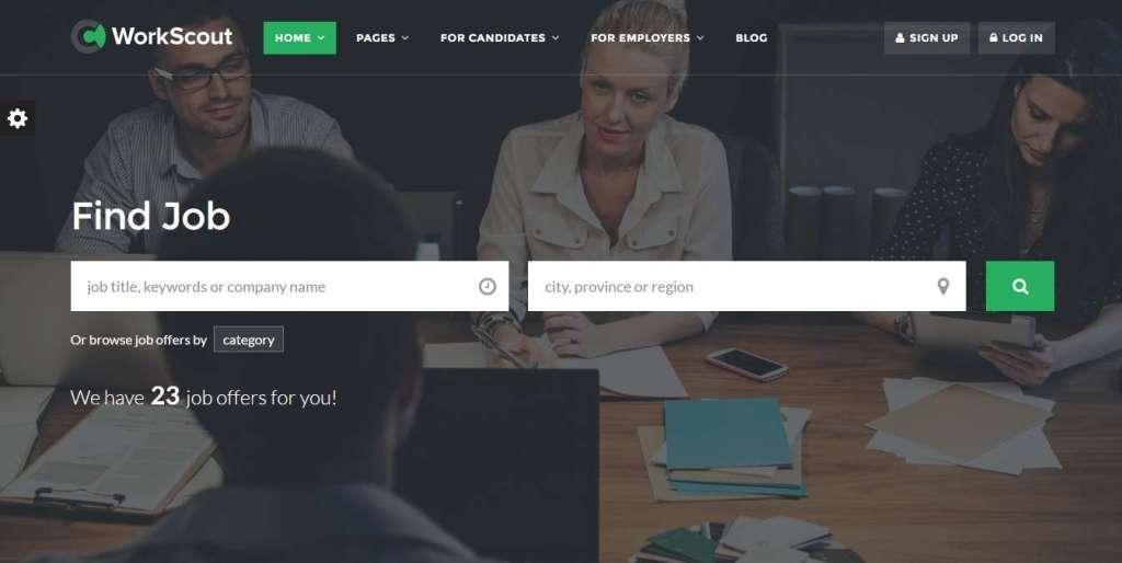 клевый шаблон сайта поиска работы или биржи труда на базе WordPress