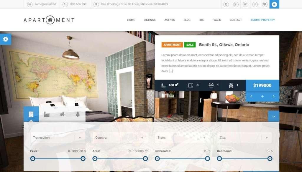 лучший шаблон портала недвижимости c премиум дизайном 1
