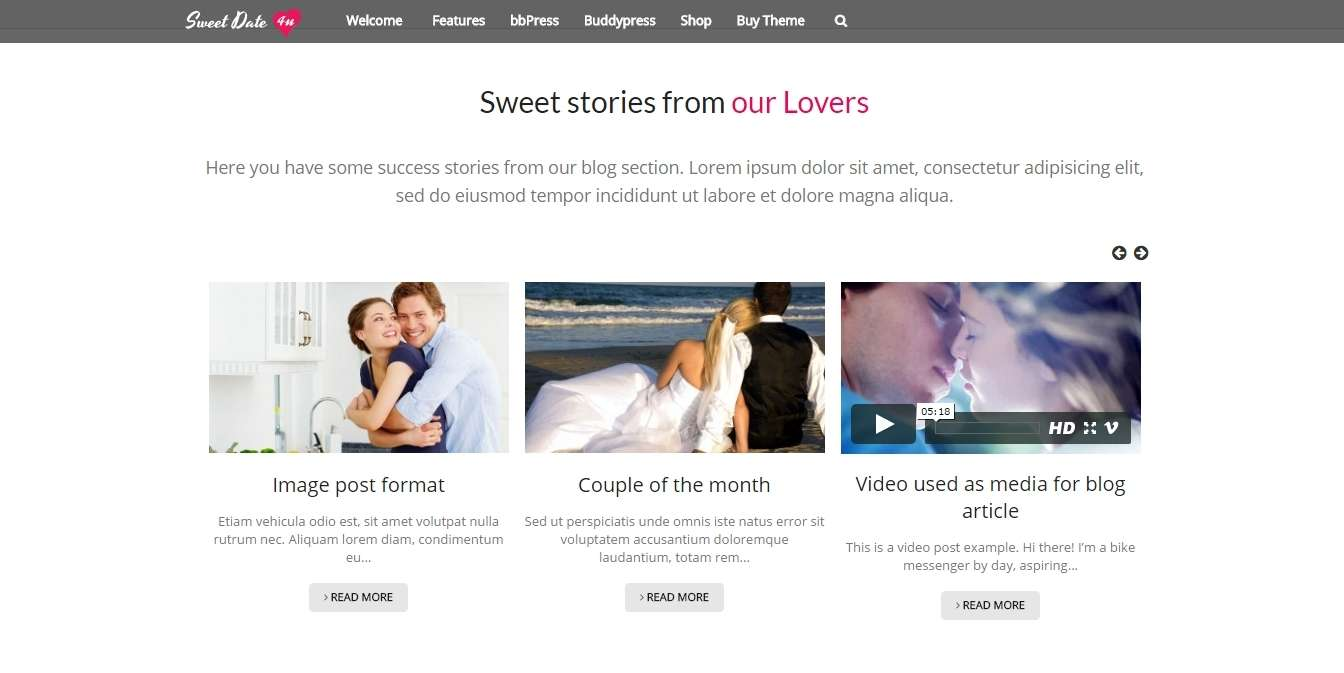 шаблон для сайта знакомств на wordpress
