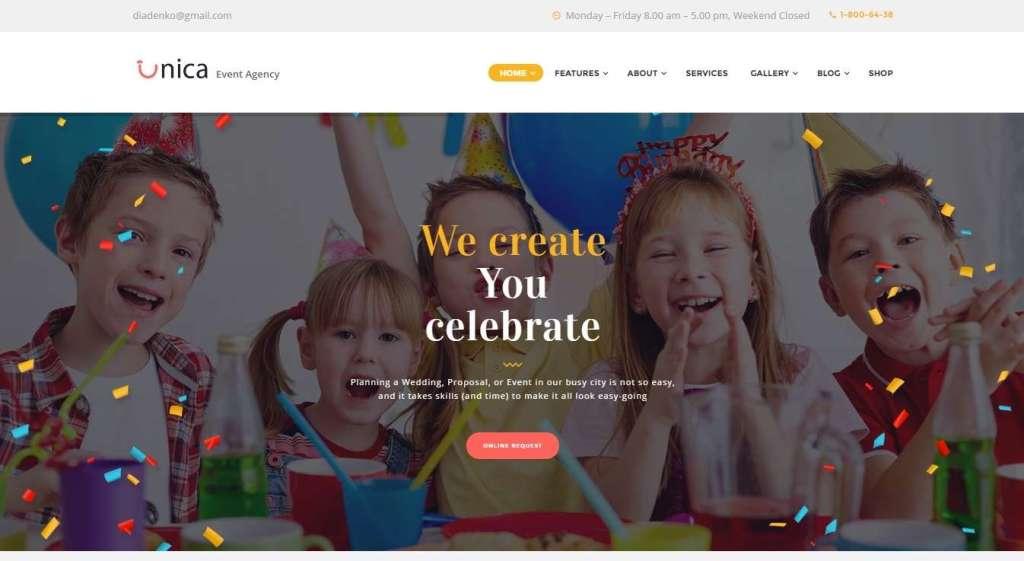 шаблоны сайта организации праздников и мероприятий 2017 1