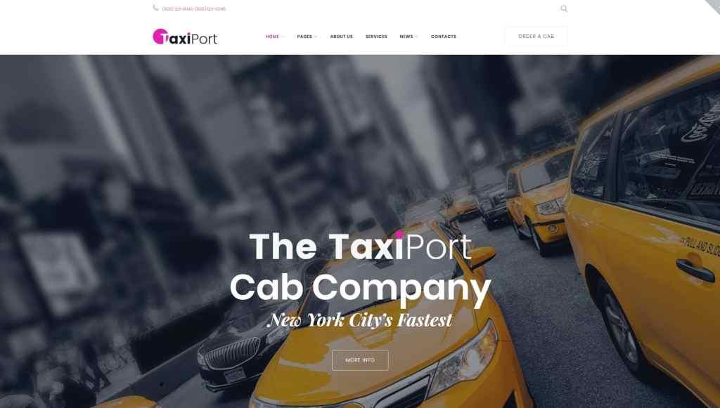 Шаблон сайта такси с классическим желтым дизайном 01