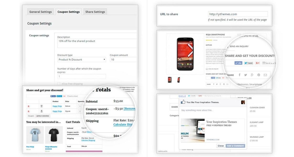 WooCommerce социальные кнопки для шэринга и скидок 3