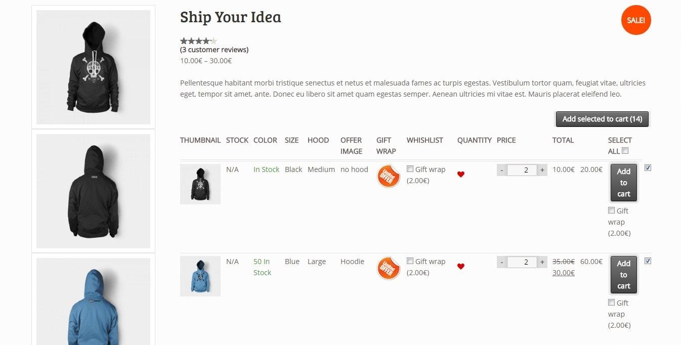 вариативный товар WooCommerce: продажа товаров на любой вкус 4