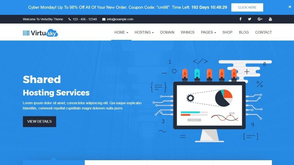 шаблон сайта хостинга с онлайн-оплатой и системой WHMCS 06