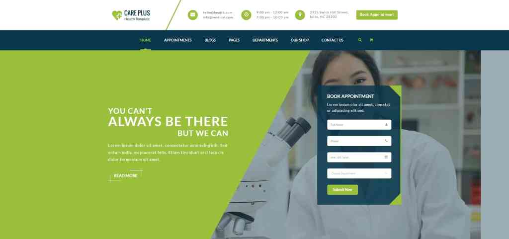 адаптивные шаблоны медицина HTML с онлайн-формой записи 06