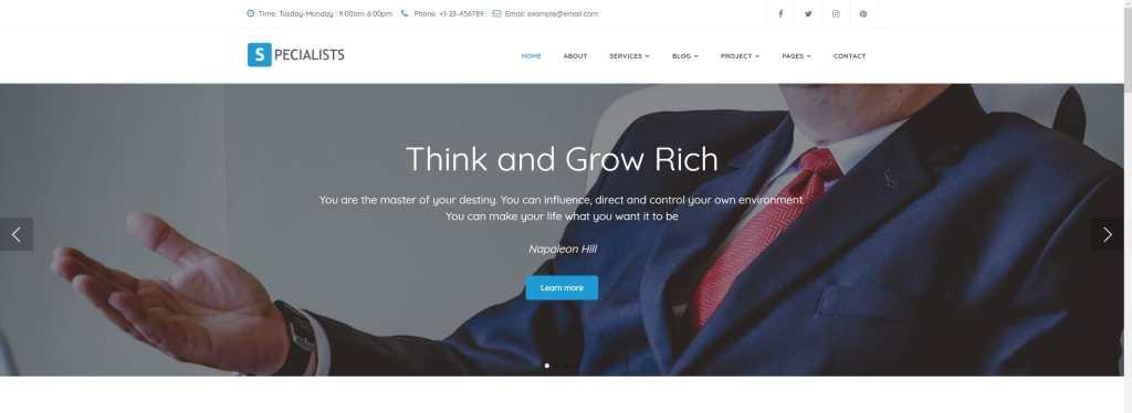 шаблон сайта компании HTML с премиальным дизайном 03
