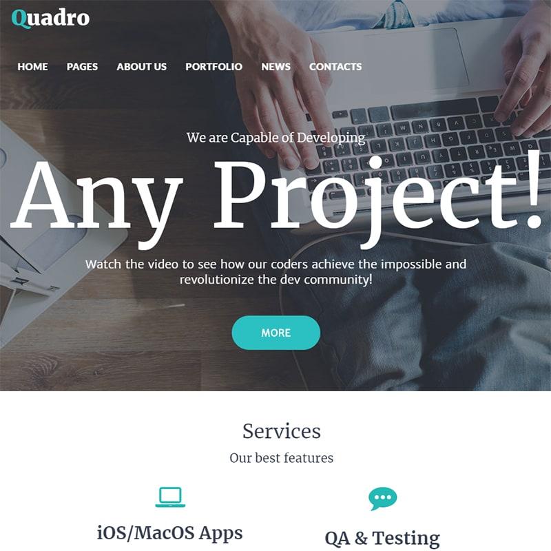 WordPress шаблон Quadro на тему программное обеспечение