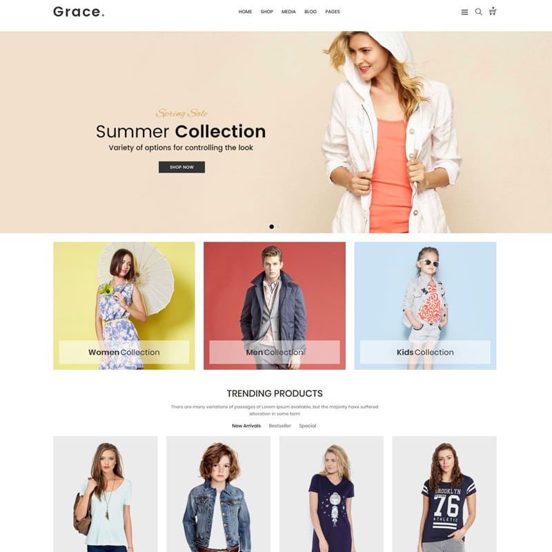 WooCommerce шаблон Grace - Minimal Fashion Store