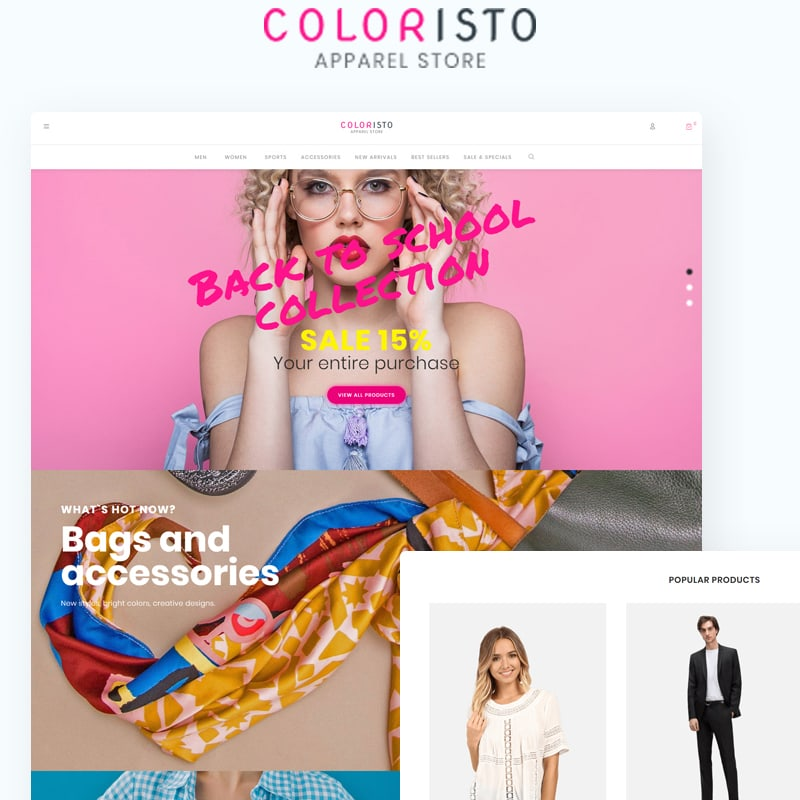 WooCommerce шаблон Coloristo - Apparel Store ECommerce Modern Elementor