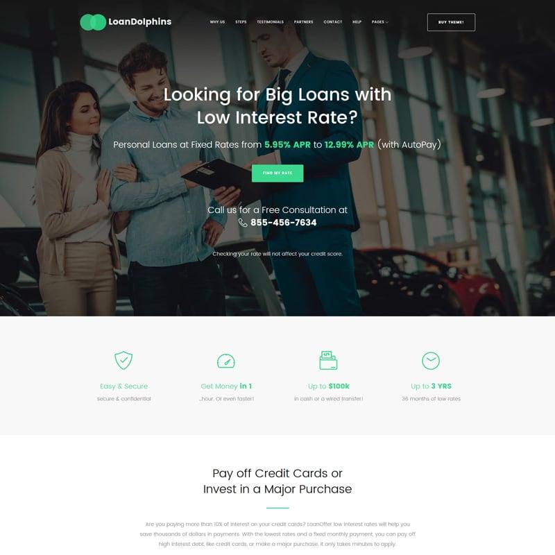 WordPress шаблон Loan Dolphins для банка