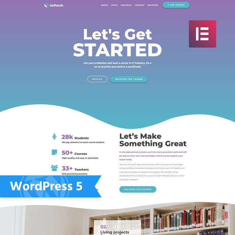 WordPress шаблон Softtech - IT Education Multipurpose Creative Elementor