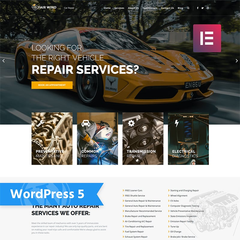 WordPress шаблон Fair Wind - Car Repair Modern Elementor
