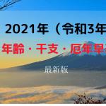 【2021年/令和3年 最新版】年齢・干支・厄年早見表