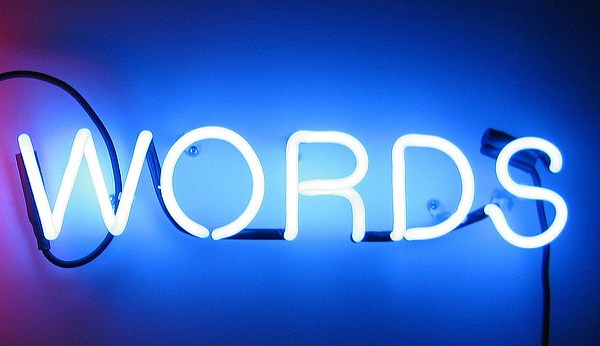 "Neon sign that says ""Words"""