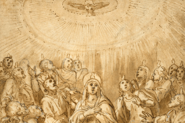 Drawing of the descent of the Holy Spirit