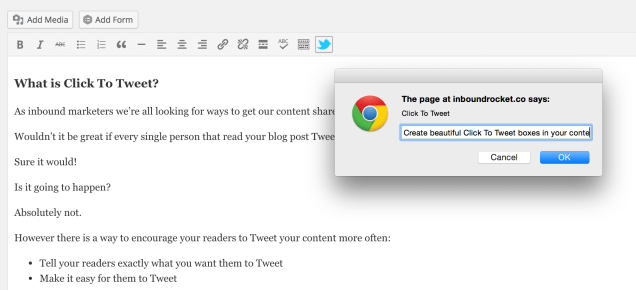 Easy add Click To Tweet boxes with a single click.