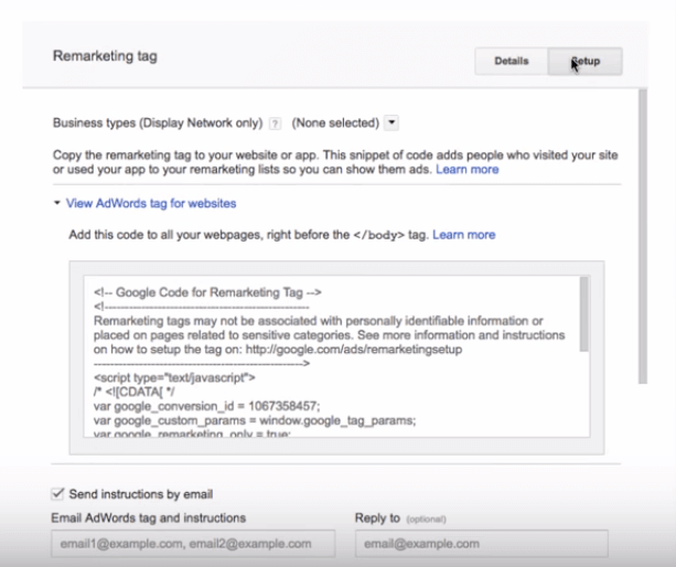 including the AdWords remarketing code for RLSA campaigns