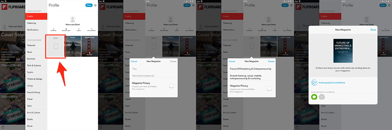 Creating a new magazine in Flipboard in four easy steps