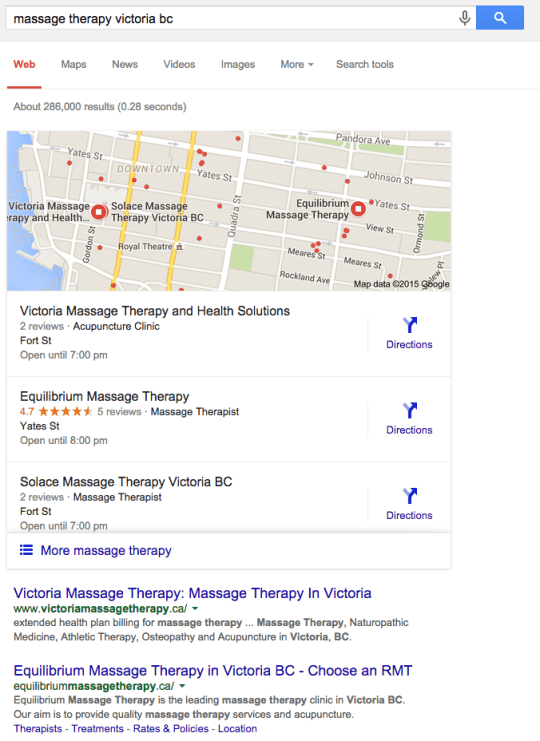 Google Search showing three local business listings