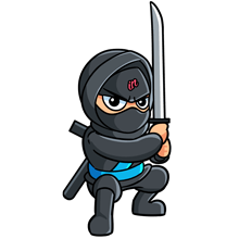 Illustrated small IN Business Ninjas crouching Ninja with a sword and blue belt on a clear background
