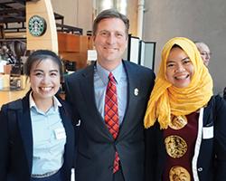 Mayor Stanton with Nia Febriyanti and Chansamai Phommachan.