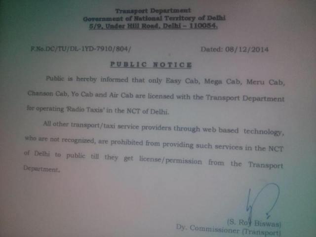 Cab service ban notice