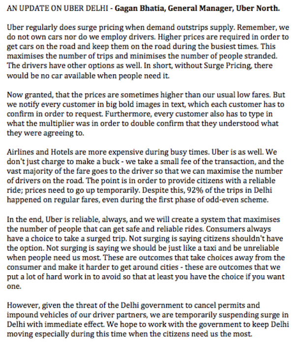 Uber Emailed Response On Surge Withdrawal