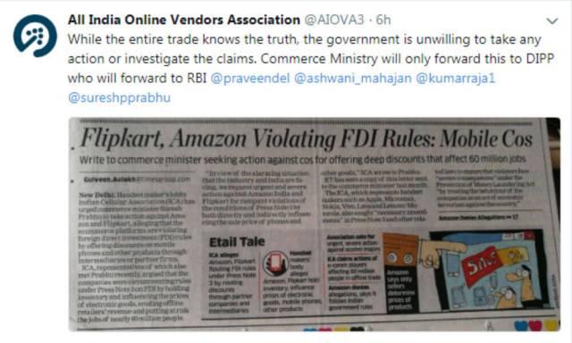 Ecommerce Giants Amazon India, Flipkart Flout FDI Rules: ICA
