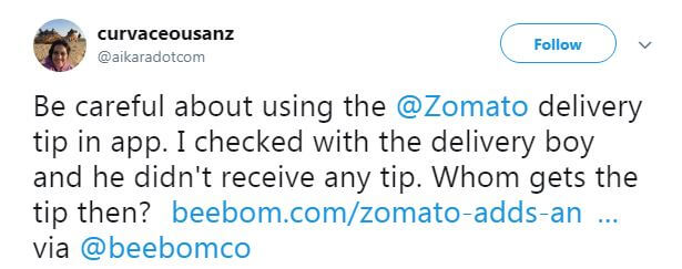 Zomato Wooes Its Food Delivery Executive With 'Tip' Feature