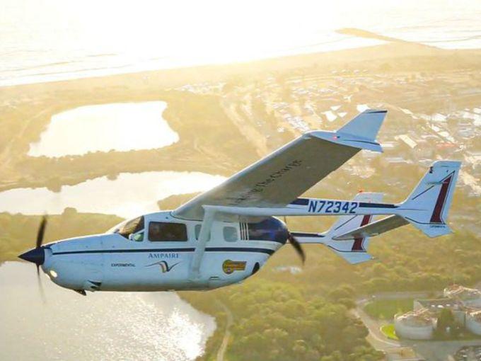 A Five-Passenger Electric Airplane Races Through LA Skies