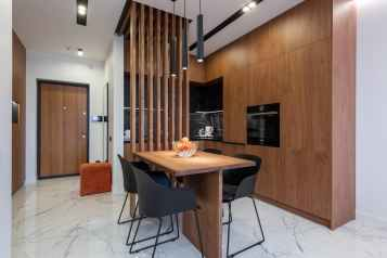 wooden furniture and table in contemporary kitchen