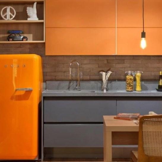 decoração cor ambiente laranja