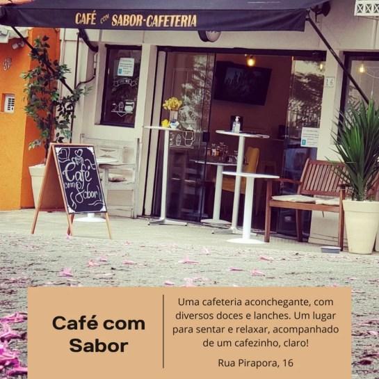 Café com Sabor, Paraíso, salgados, chocolate belga, frutas.